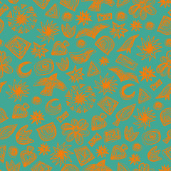 Seamless doodle pattern. Vector hand drawn pattern. Kids theme. Great for package or fabric design.