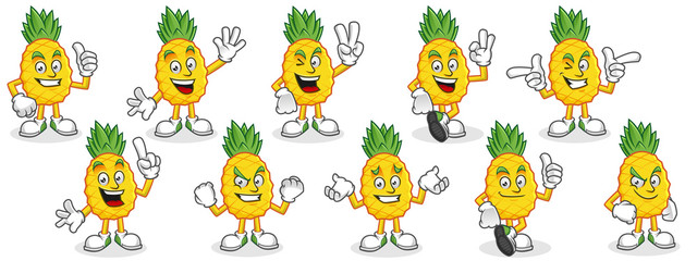 Pineapple mascot pack. Vector set of pineapple characters. Pineapple vector pack.