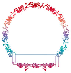 Beautiful round gradient frame with roses.