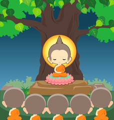 Buddha sitting on lotus flower under tree in Makha Bucha Day -Vector illustration