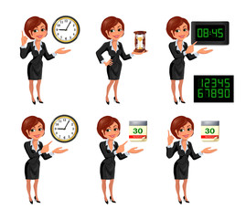 Set of smiling cartoon businesswoman points to the deadline. Girl in suit with clock, hourglass, digital clock and tear-of calendar. Vector illustration isolated on white background.