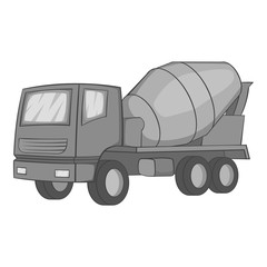 Concrete mixer icon. Gray monochrome illustration of concrete mixer vector icon for web design
