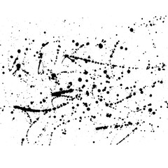 Hand drawn watercolor black  blobs isolated on white background.