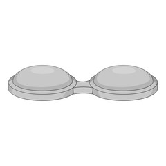 Contact lens container icon. Gray monochrome illustration of lenses container vector icon for web design