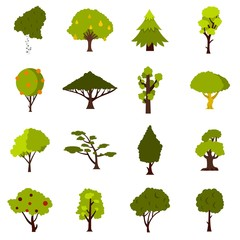 Green tree icons set. Flat illustration of 16 green tree vector icons for web