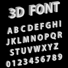 3D font letters and numbers of the English alphabet