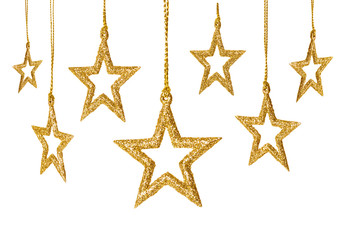 Christmas Star Hanging Decoration, New Year Stars Set, Isolated