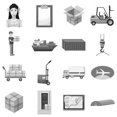 Logistic icons set. Gray monochrome illustration of 16 logistic vector icons for web