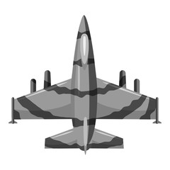 Military aircraft icon. Gray monochrome illustration of military aircraft vector icon for web