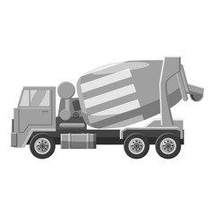 Concrete mixer truck icon. Gray monochrome illustration of concrete mixer truck vector icon for web