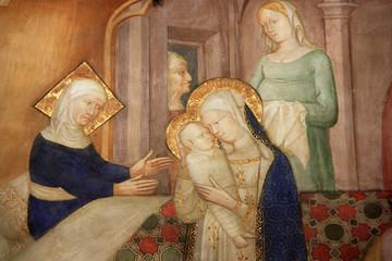 Fresque de la Vierge à l'Enfant à l'oratorio di San Giovanni Battista à Urbino, Italie