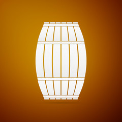 Wooden barrel flat icon on brown background. Vector Illustration