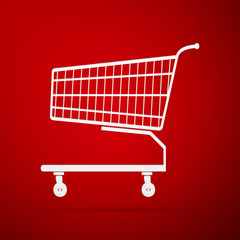 Shopping cart flat icon on red background. Vector Illustration