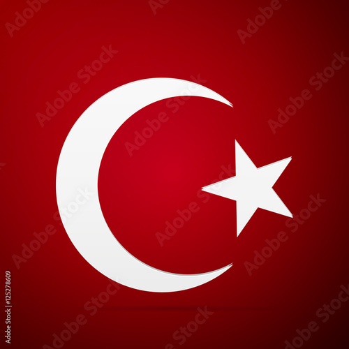 """Star and crescent - symbol of Islam flat icon on red ..."