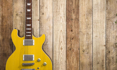 3d illustration cool electric guitar on wooden background Modern grunge and rock style