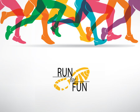 running people set of silhouettes, sport and activity  backgroun