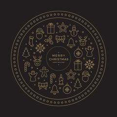 gold black merry christmas line icons elements circle