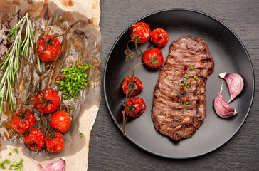 Wall Mural - steak Ribeye entrecote roasted with rosemary and garlic