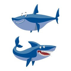 Vector shark character set.