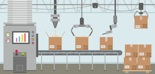 Conveyor system in flat design