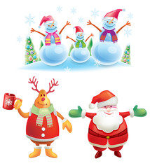 Set of colorful christmas characters