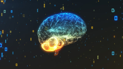 Digital binary brain illustrating big data and artificial intelligence