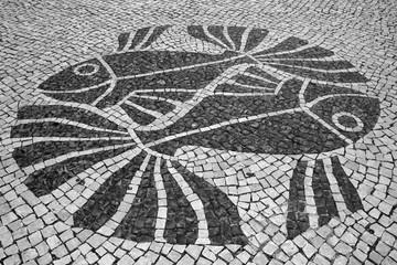 Fish Design in Portuguese Mosaic Street Tiles