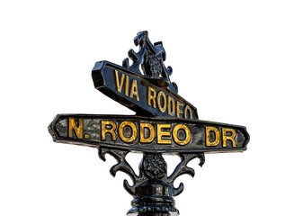 Sign of Rodeo Drive in Beverly Hills, Los Angeles - Picture isolated on white background