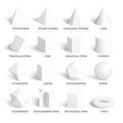 All basic 3d shapes template