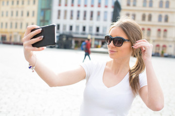 Girl take selfie in Dresden