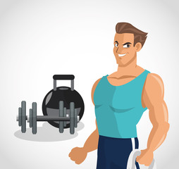 Man cartoon and weights icon. Healthy lifestyle fitness gym and bodybuilding theme. Colorful design. Vector illustration