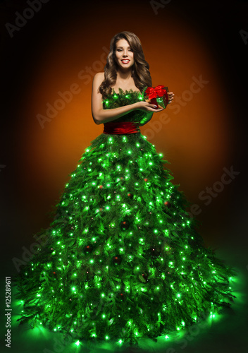 christmas tree woman dress fashion lighting gown girl xmas present - Christmas Tree Dress