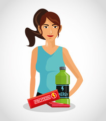 Protein supplement and avatar woman icon. Healthy lifestyle theme. Colorful design. Vector illustration