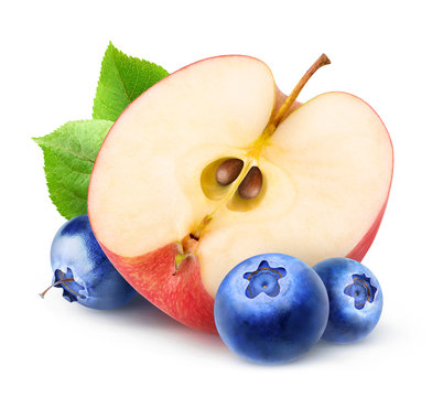 Half of red apple fruit and fresh blueberries isolated on white background with clipping path