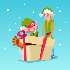 Christmas Elf Group Cartoon Character Santa Helper With Big Present Box Flat Vector Illustration