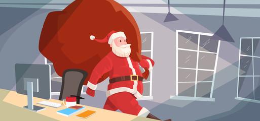 Santa Claus Christmas Holiday Big Present Bag Gift Coming To Home Flat Vector Illustration