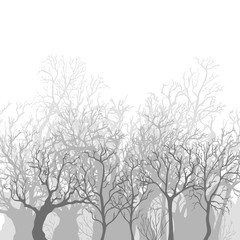 Vector Monochrome Background of Bare Dead Trees