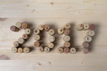 Wine corks closeup 2017. New Year's decorations
