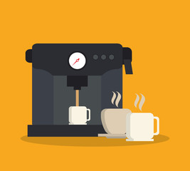 Machine and mug icon. Coffee shop drink and beverage theme. Colorful design. Vector illustration