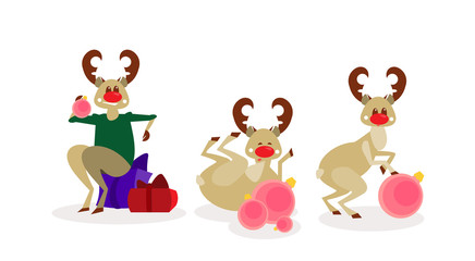 Christmas Reindeer Group Isolated Happy New Year Celebration Cartoon Characters Flat Vector Illustration
