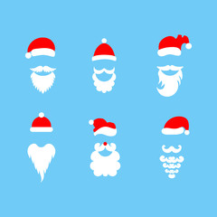 Stylish Santa. Hats and beards. Set of vector hand-drawn illustrations.