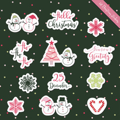 A set of Christmas stickers, scrapbook, gift tags with text, snowman, tree, snowflakes and Christmas elements in green, pink and white colors with green background for Christmas greeting holiday.