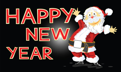 Happy New Year with Santa Claus card