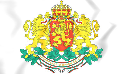 Poster Castle Bulgaria Coat of Arms. 3D Illustration.