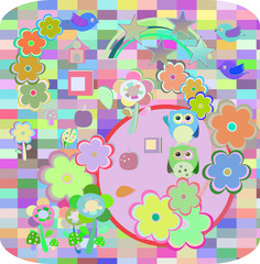 Background with owls family in flowers and love hearts