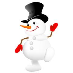Christmas snowman vector illustration on white background