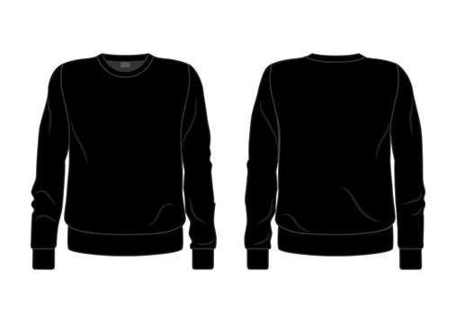 Black men's sweatshirt template, front and back view