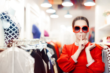 Shopping with Big Sunglasses Woman Keeping a Secret