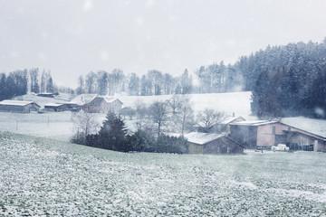 winter landscape of swiss village