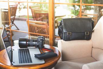 Dslr camera at the table